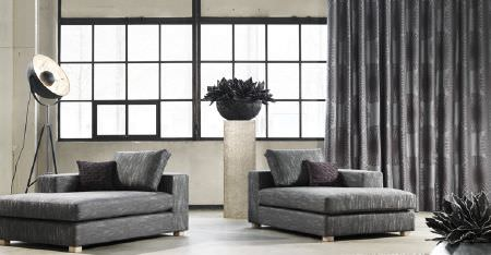Kobe -  Inoxy Fabric Collection - Two large grey chaise longues with strié patterns, with 2 cushions, patterned curtains, a pillar, bowl and a spotlight