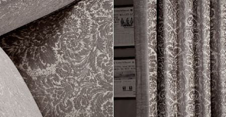 Kobe -  Jockey Fabric Collection - Curtains and upholstery covered with a blurred but very detailed, intricate patterns in two different shades of grey