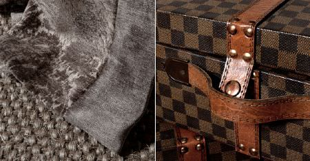 Kobe -  Jockey Fabric Collection - A dark and mid brown checkerboard patterned case with brown leather straps, with two woven and textured grey fabrics