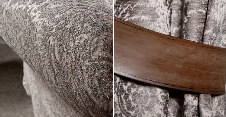 Kobe -  Jockey Fabric Collection - A dark wood frame on an armchair covered with subtly patterned, luxuriously textured, silver and pale grey fabric