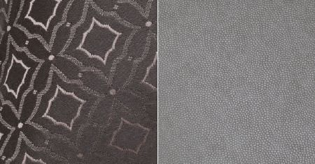 Kobe -  Leonardo CS Fabric Collection - Dove grey and off-white speckled fabric, beside luxurious white, gunmetal grey and battleship grey patterned fabric