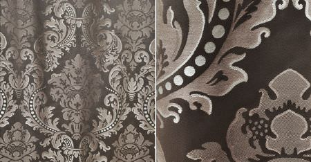 Kobe -  Leonardo CS Fabric Collection - Luxurious fabric made with large, ornate patterns in white and several different dark shades of grey