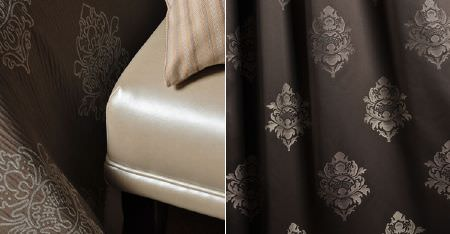 Kobe -  Leonardo CS Fabric Collection - A lustrous champagne coloured seat with two different fabrics with light grey patterns on dark brown backgrounds