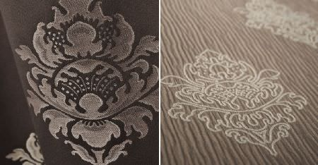 Kobe -  Leonardo CS Fabric Collection - Two ornately patterned fabrics; one with an embroidered design on a textured fabric, one in dark shades of brown-grey