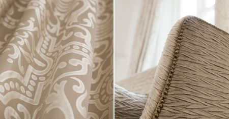 Kobe -  Louvre Fabric Collection - A streaky texture covering light brown coloured fabric on an armchair, with cream and light brown patterned fabric