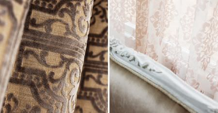 Kobe -  Louvre Fabric Collection - A textured pattern on biscuit and dark brown fabric, with pink and white patterned sheer curtains, and a wood framed sofa