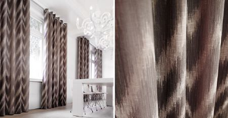 Kobe -  Maroa Fabric Collection - Curtains featuring a large zigzag pattern made by blurring dark and light shades of brown, with a white table and chairs