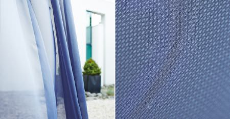 Kobe -  Motion Fabric Collection - Two sheer fabric curtains in light and Royal shades of blue, with Royal blue fabric woven with a very small pattern