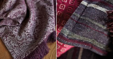 Kobe -  Nomad Fabric Collection - Striped, patterned and fringed fabrics featuring colours such as aubergine, pale grey, dark grey, cherry and plum