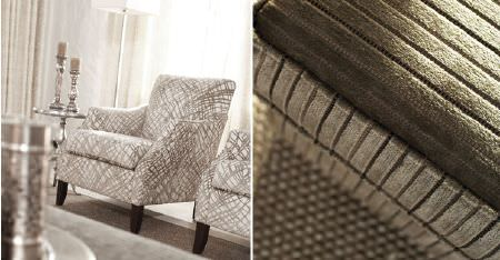 Kobe -  Paladio Fabric Collection - Pewter coloured textured stripes covering a seat cushion, with 2 light grey and white patterned armchairs, and silver tables