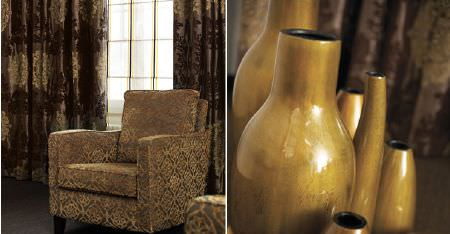 Kobe -  Paladio Fabric Collection - Various glazed gold coloured vases, with brown and gold patterned curtains and a co-ordinating armchair