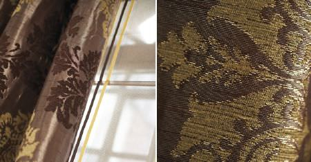 Kobe -  Paladio Fabric Collection - Light gold, chocolate brown, mocha and dark brown colours making up curtains and fabric woven with ornate patterns