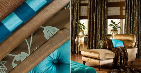 Kobe -  Pearls Fabric Collection - Gold, dark brown and aqua blue plain, floral, striped and textured fabrics on a chaise longue, curtains and a throw