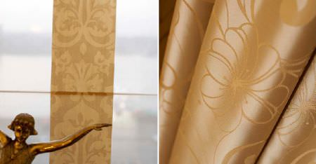 Kobe -  Pearls Fabric Collection - Patterned caramel coloured stripes on white fabric, a statue, and delicately floral patterned caramel coloured fabric