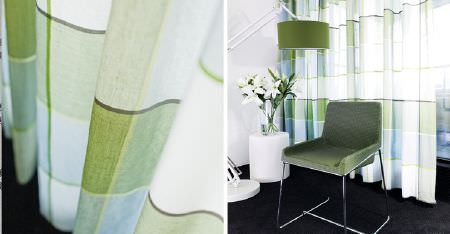 Kobe -  Peru Fabric Collection - A large light green and white checked design on sheer fabric curtains, with a green lamp and a green and metal armchair