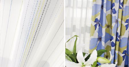 Kobe -  Peru Fabric Collection - Blue and green dots running down sheer white curtains, beside co-ordinating curtains with a large floral print