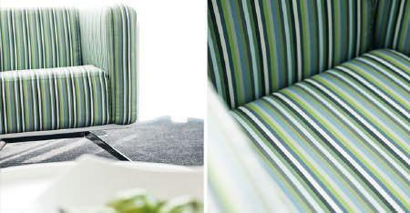 Kobe -  Peru Fabric Collection - A blue, green, grey and white striped sofa made with a silver metal framed base