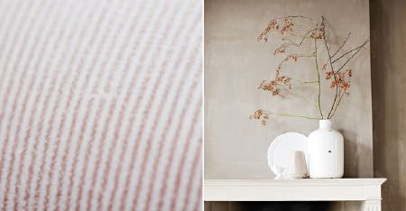 Kobe -  Poetry Fabric Collection - Very pale pink and white pinstripe fabric, with cherry blossoms placed in a bright white vase beside a plain white plate