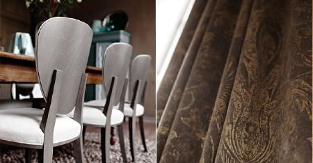 Kobe -  Poetry Fabric Collection - A wooden table, silvery grey chairs with white padded seats, a fluffy rug, and dark brown fabric with a light pattern