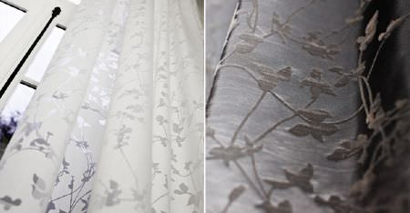 Kobe -  Poetry Fabric Collection - Sheer floral and stem patterns on bright white and pale grey coloured fabric and curtains