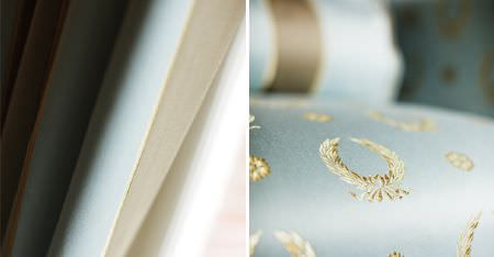 Kobe -  Royal Astoria Fabric Collection - Regal wreath patterns and smart stripes on fabric made in light, classic shades of blue, brown and cream