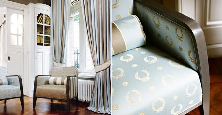 Kobe -  Royal Astoria Fabric Collection - Light blue and brown striped curtains with two wooden framed armchairs covered in elegant wreath patterned fabrics