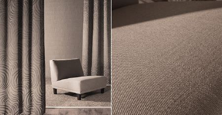 Kobe -  Sensu CS Fabric Collection - A very low square padded chair in plain light brown-grey coloured fabric, with matching, subtly patterned curtains