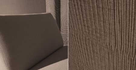 Kobe -  Sensu CS Fabric Collection - Very subtly textured and patterned fabrics beside a plain light grey-beige coloured simple padded chair