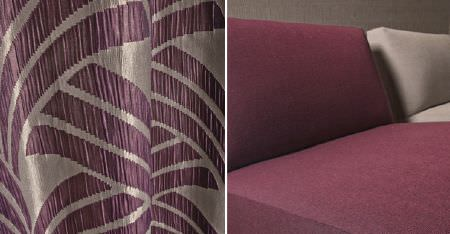 Kobe -  Sensu CS Fabric Collection - A plain mulberry coloured padded chair, a plain ivory padded chair, with lustrous silver and purple patterned curtains