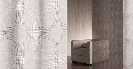 Kobe -  Sensu CS Fabric Collection - A plain off-white cube shaped armchair, with white and very pale grey patterned curtains with sheer, dark grey panels