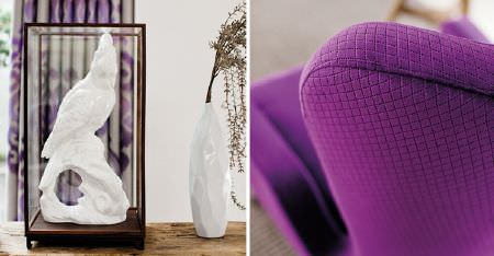 Kobe -  Sindara Fabric Collection - A white sculpture in a glass case, a white vase, with a bright purple armchair patterned with a subtly patterned grid