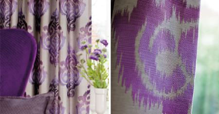 Kobe -  Sindara Fabric Collection - Light grey fabric made with ornate patterns printed in various bright shades of purple and lilac, with a purple armchair