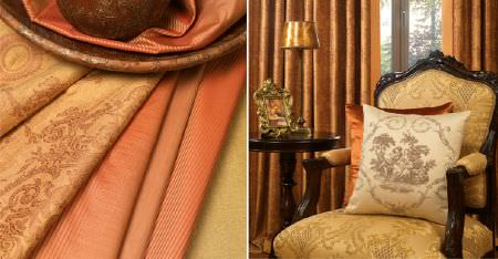 Kobe -  Tournelle Fabric Collection - Plain and patterned salmon pink and caramel coloured fabrics, with a matching wood framed armchair, and a cream cushion