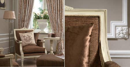 Kobe -  Tournelle Fabric Collection - A cream, square wood framed armchair with a warm brown seat and back, cream and brown cushions, a lamp and curtains