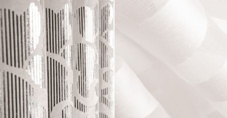 Kobe -  White Fabric Collection - Folds of white fabric, one featuring a sheer design, the other featuring a metallic silver pattern