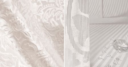 Kobe -  White Fabric Collection - Clear diamantés scattered on pale grey and white pinstripe fabric, with white fabric featuring a subtle, textured pattern