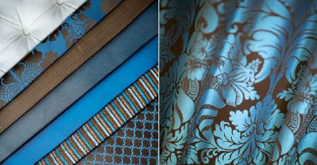 Kobe -  Zaffiro CS Fabric Collection - Several neat folds of plain, patterned and striped fabrics, all made in dark chocolate brown and bright aqua blue