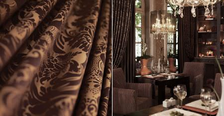 Kobe -  Zaffiro CS Fabric Collection - Luxurious dark brown and caramel fabric, plain chocolate brown armchairs, plain and patterned curtains, and two tables