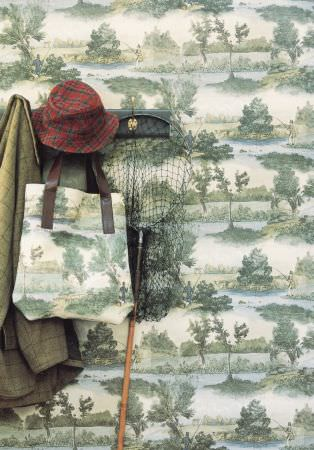 Lewis and Wood -  Lewis And Wood Fabric Collection - A net, a hat and a coat, with a bag and wallpaper, both printed witha green, cream and blue outdoors scene of trees and lakes