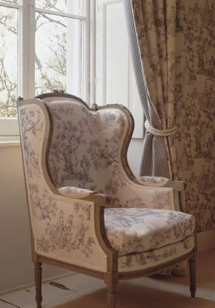 Lewis and Wood -  Lewis And Wood Fabric Collection - A grey and white patterned padded armchair with a grey wood frame, with matching wallpaper and double-sided curtains