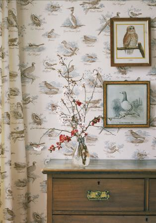 Lewis and Wood -  Lewis And Wood Fabric Collection - A large wooden chest of drawers in front of bird print wallpaper and curtains, with aglass vase and framed bird pictures