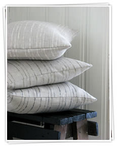 Ada and Ina -  Linen Fabrics Collection - Striped white cushions on a bench