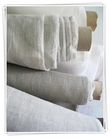 Ada and Ina -  Linen Fabrics Collection - Rolls of white and brown fabric