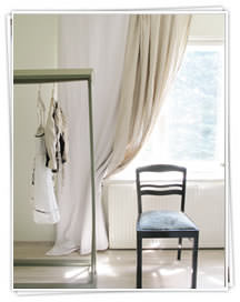 Ada and Ina -  Linen Fabrics Collection - A light room with white curtains and a chair
