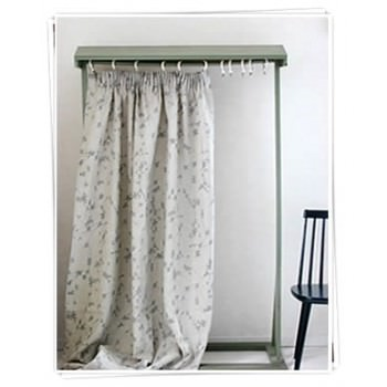 Ada and Ina -  Linen Fabrics Collection - White and grey curtains