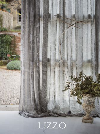 Lizzo -  Aroma Fabric Collection - Lightweight, translucent grey and white patterned fabric, with a cream antique style vase