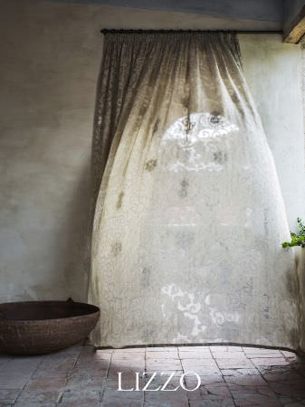 Lizzo -  Aroma Fabric Collection - Billowing lightweight cream curtains with a subtle grey and white pattern, with a very large round brown bowl