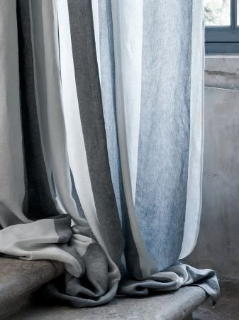 Lizzo -  Formentera Fabric Collection - Soft, thin, white fabric, interspersed with wide stripes of plain blue and dark grey