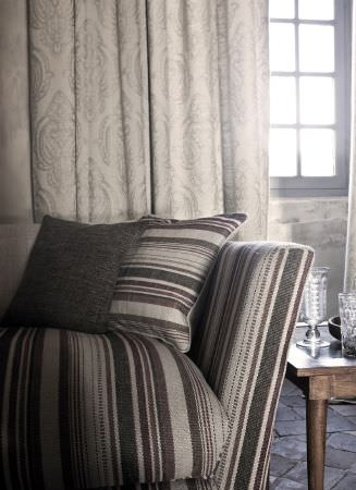 Lizzo -  Java Fabric Collection - Sofa with armrest, seat cushion and scatter cushion in grey stripes, with plain grey cushions, cream curtains with grey patterns, wood table