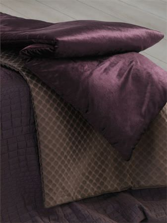 Lizzo -  Mimic Fabric Collection - Solid purple satin effect blanket, with fabric in two shades of brown covered in rounded squares, with brown reptile skin effect fabric